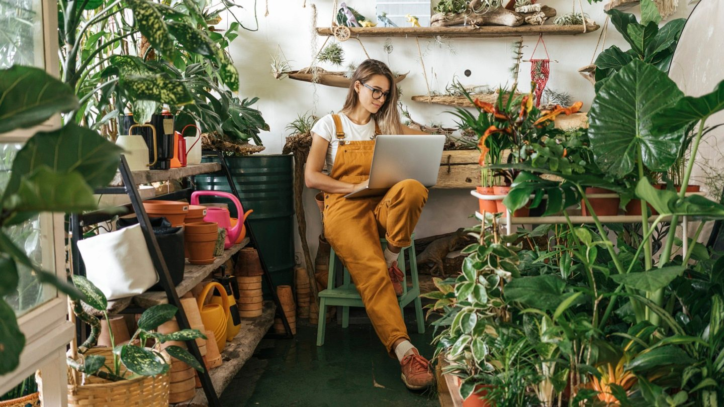 Small business woman looking at her laptop surrounded by ferns