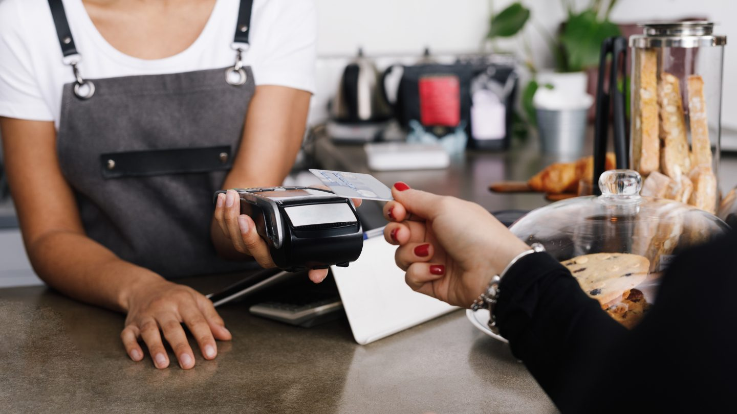 Customer making a contactless payment.