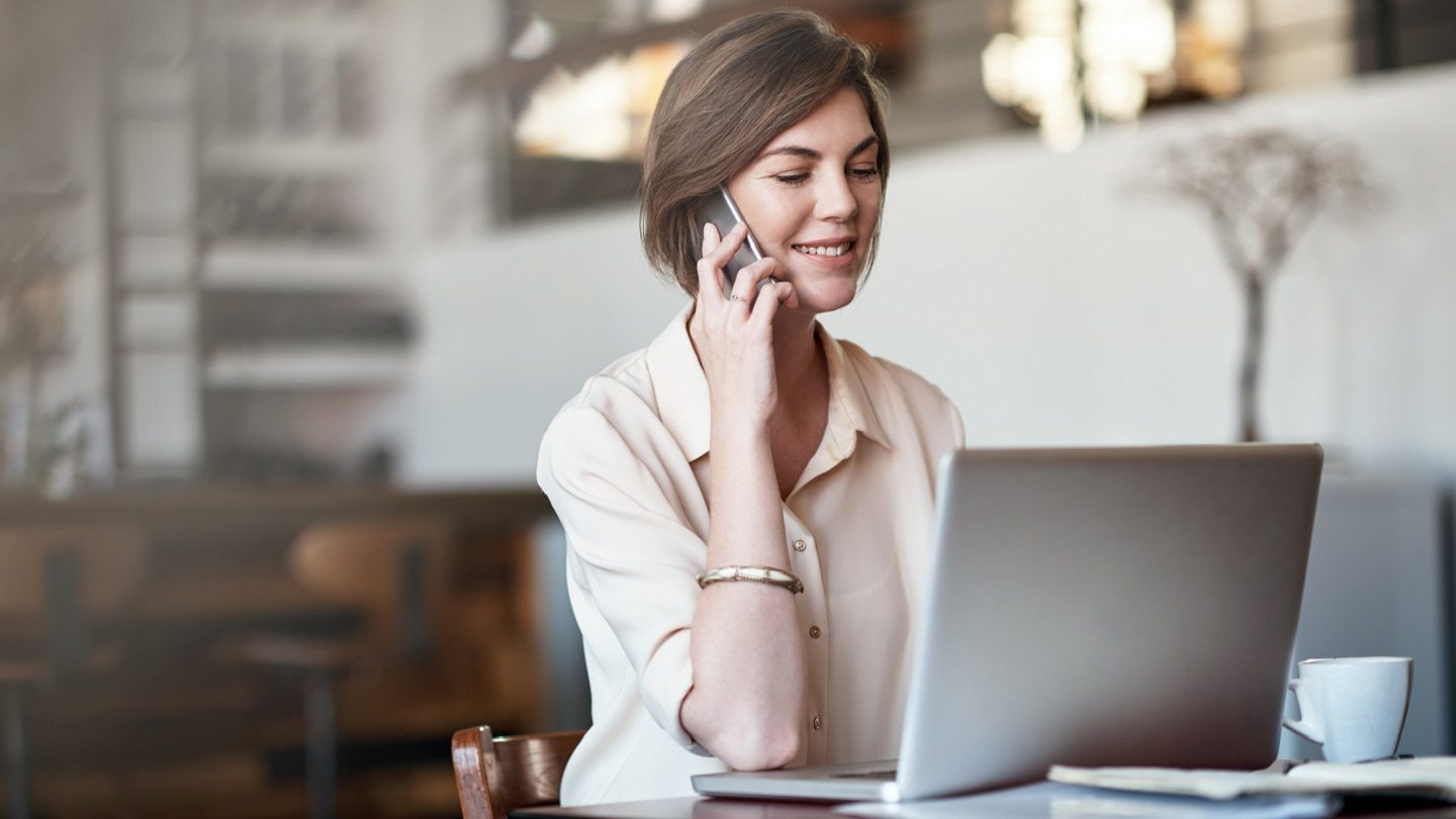 small business woman searching up COVID-19 resources