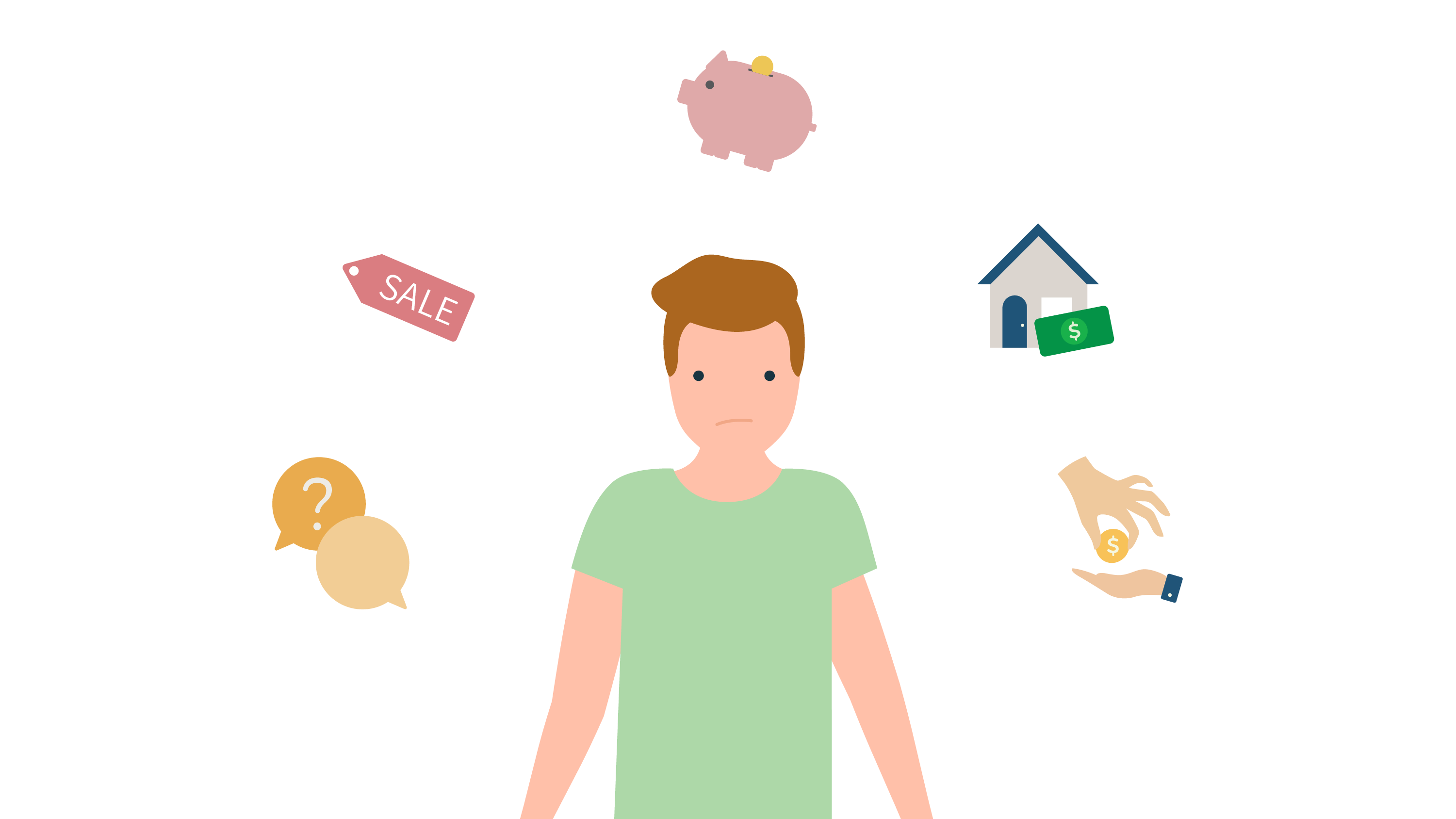 Illustration of man standing with icons of speech bubbles, a sale ticket, a piggy bank, a house with a $ sign and a hand giving money to another hand.