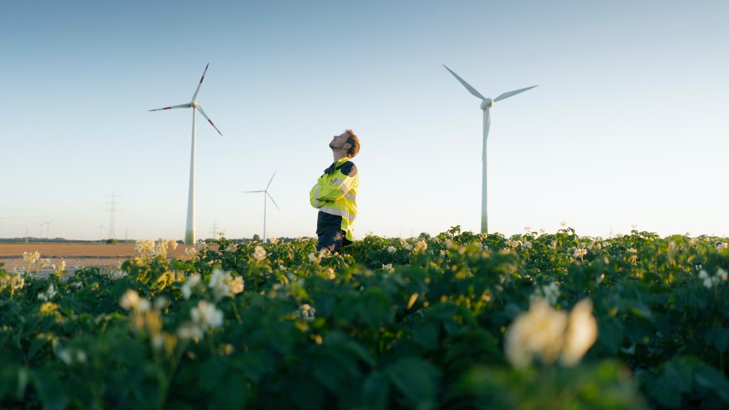 Engineer stands in the middle of a field, looking at wind turbines.