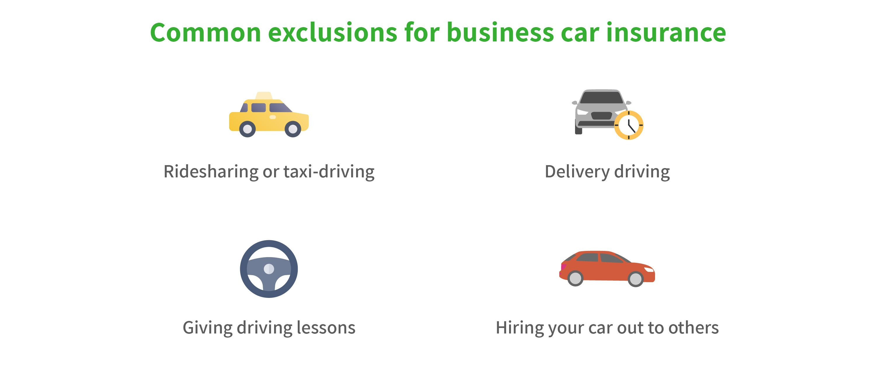 Graphic illustrating business car insurance exclusions, including for ridesharing, delivery driving, giving driving lessons and hiring your car out to others.