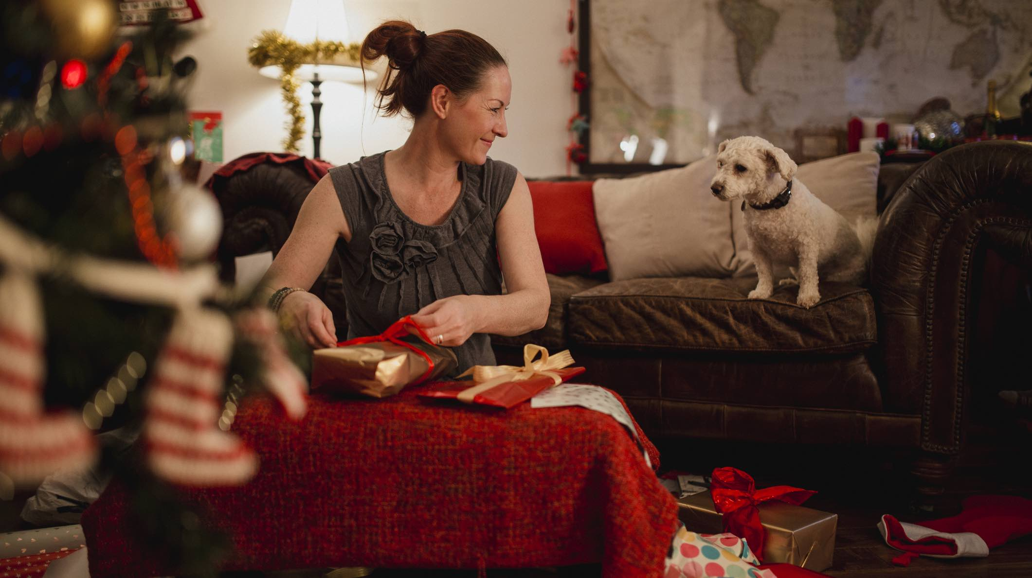 Woman with dog wrapping Christmas presents and considering contents insurance.