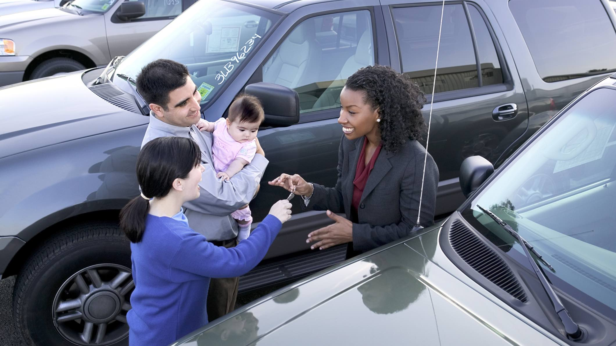 Family buying a car and car insurance.
