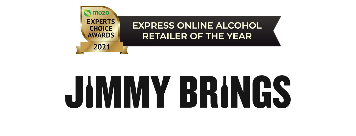 Logo of Jimmy Brings: Winner of the Express Online Alcohol Retailer of the Year award.