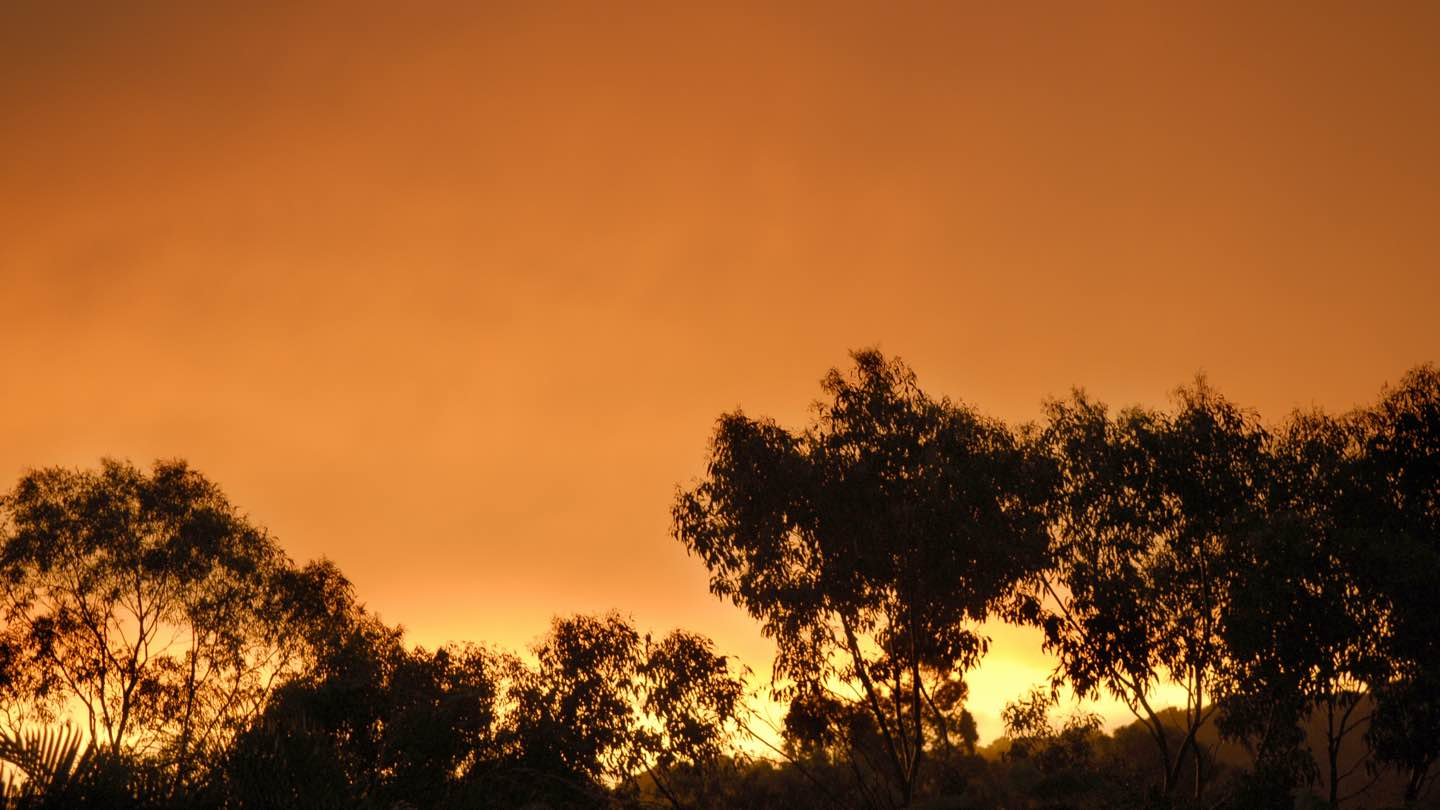 Sunset in Australia, representing the need for fire prevention.