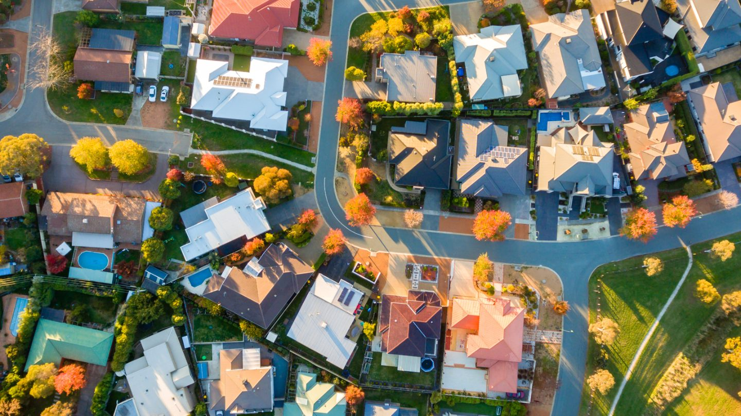 Aerial shot of houses.