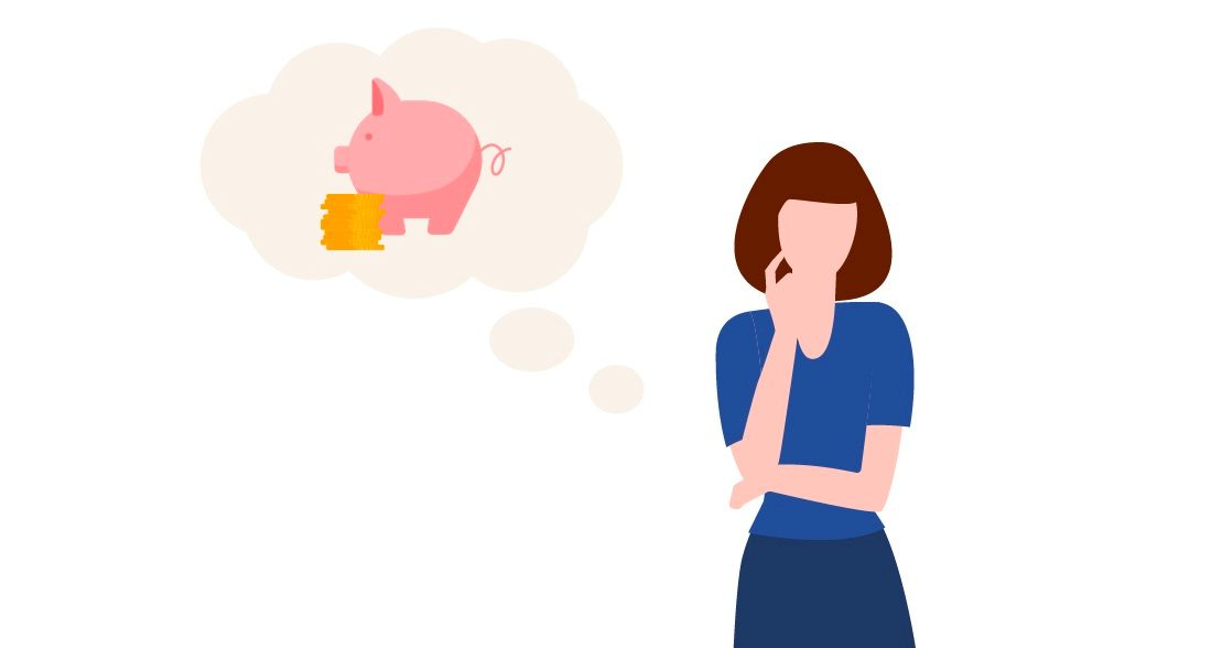 Woman thinking about her savings