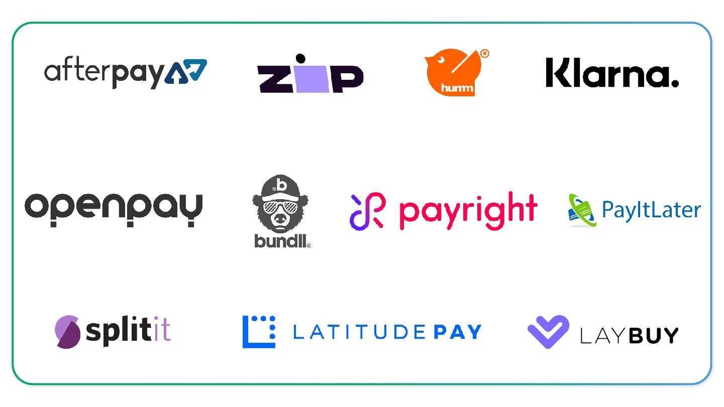 Logos of buy now pay later providers in Australia