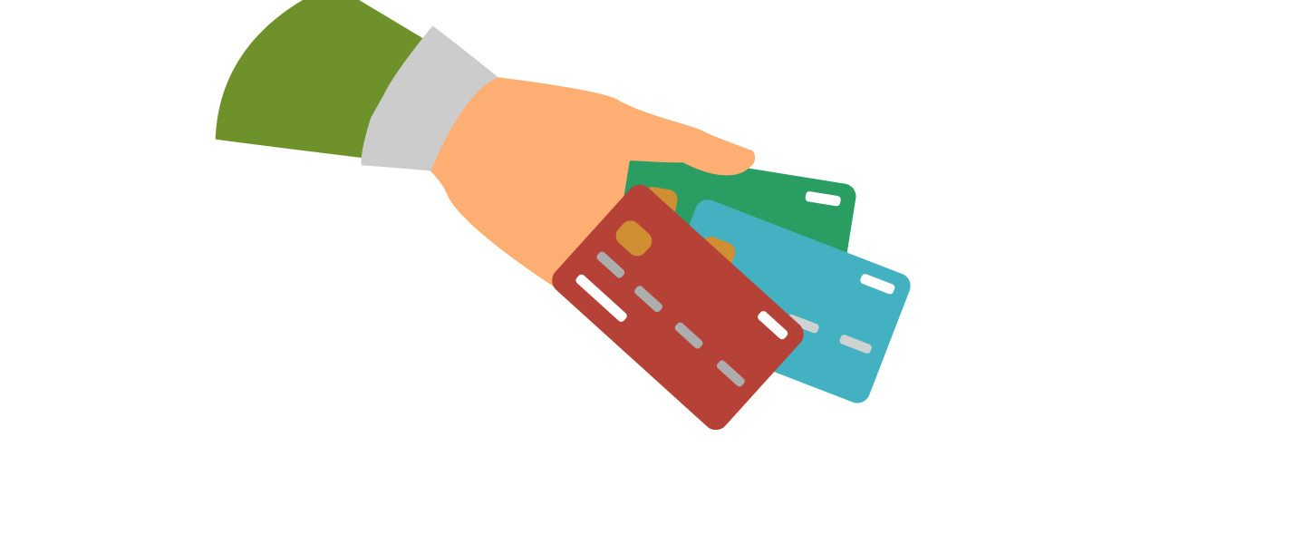 Graphic showing hand holding multiple bank cards.