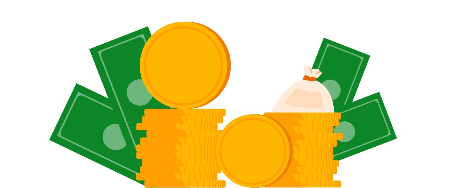 Graphic illustration of bank notes and coins.