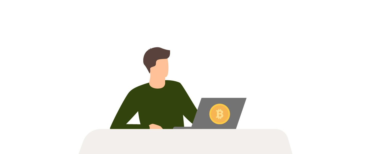 Graphic illustration of someone sitting in front of a laptop, cryptocurrency mining.