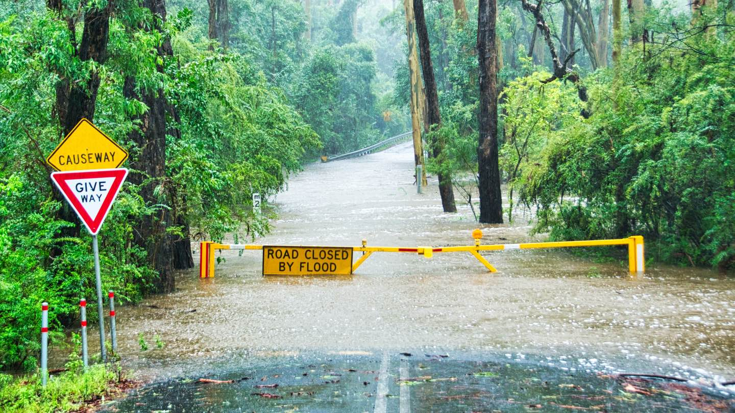 Flooded road in NSW with sign saying 'road closed by flood.'