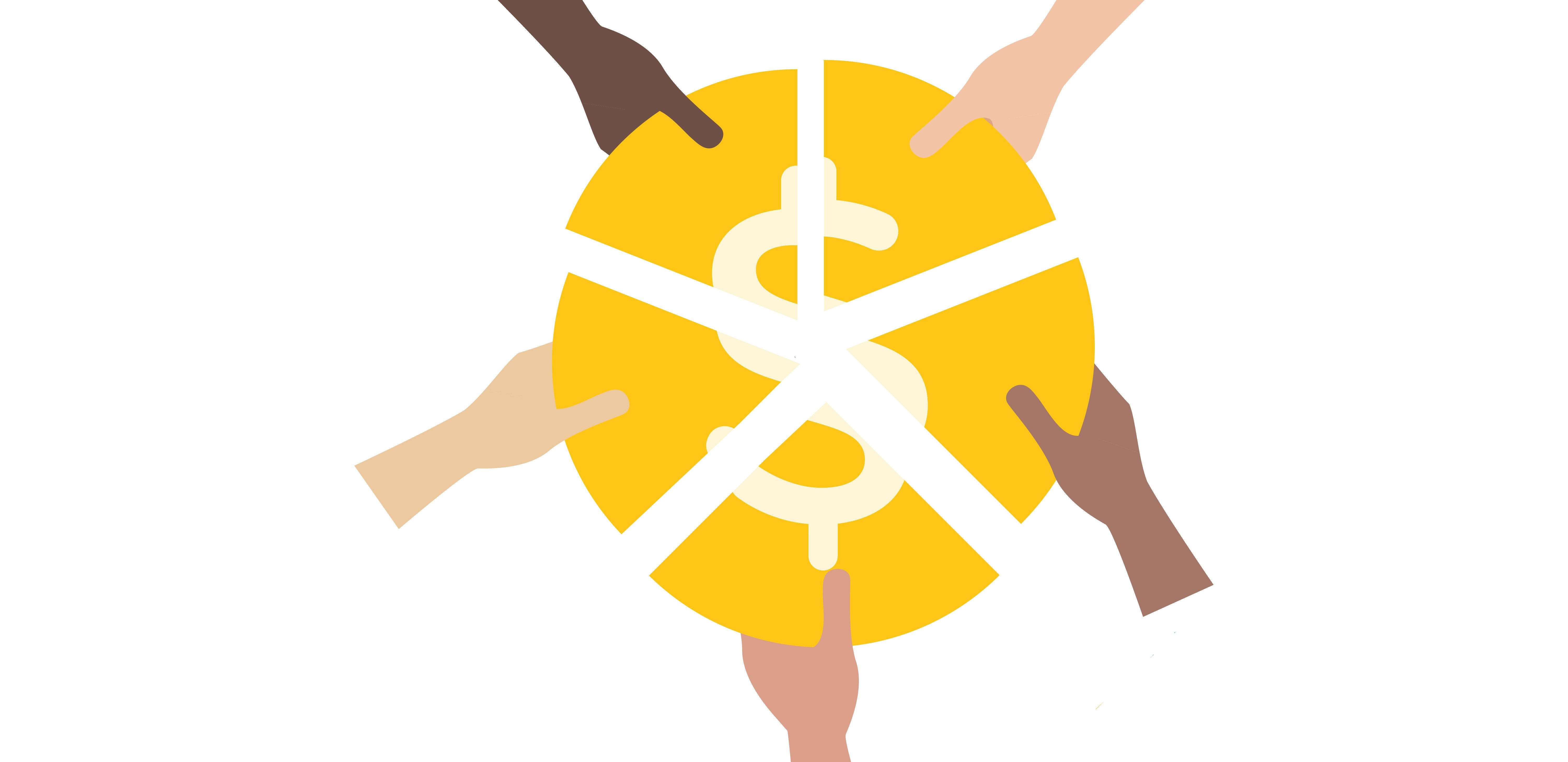 Hands reach in to take parts of a coin, representing sharing pieces of a pie.