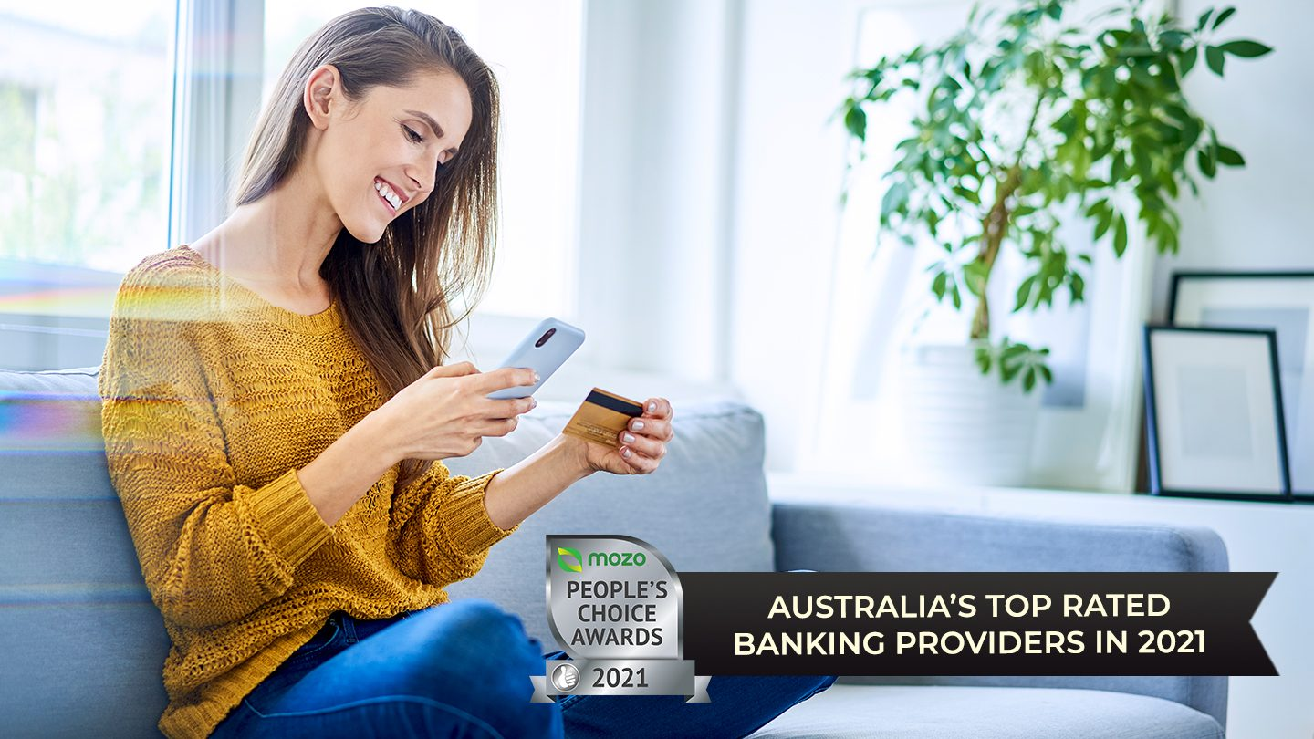 Woman looking at her banking app
