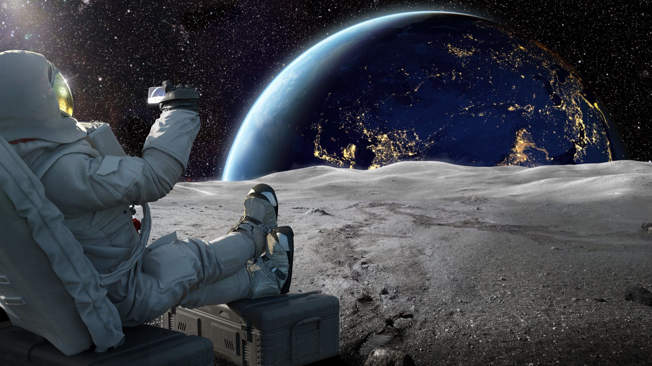 Astronaut sitting on moon, taking a photo of the Earth as a space tourist without appropriate travel insurance.