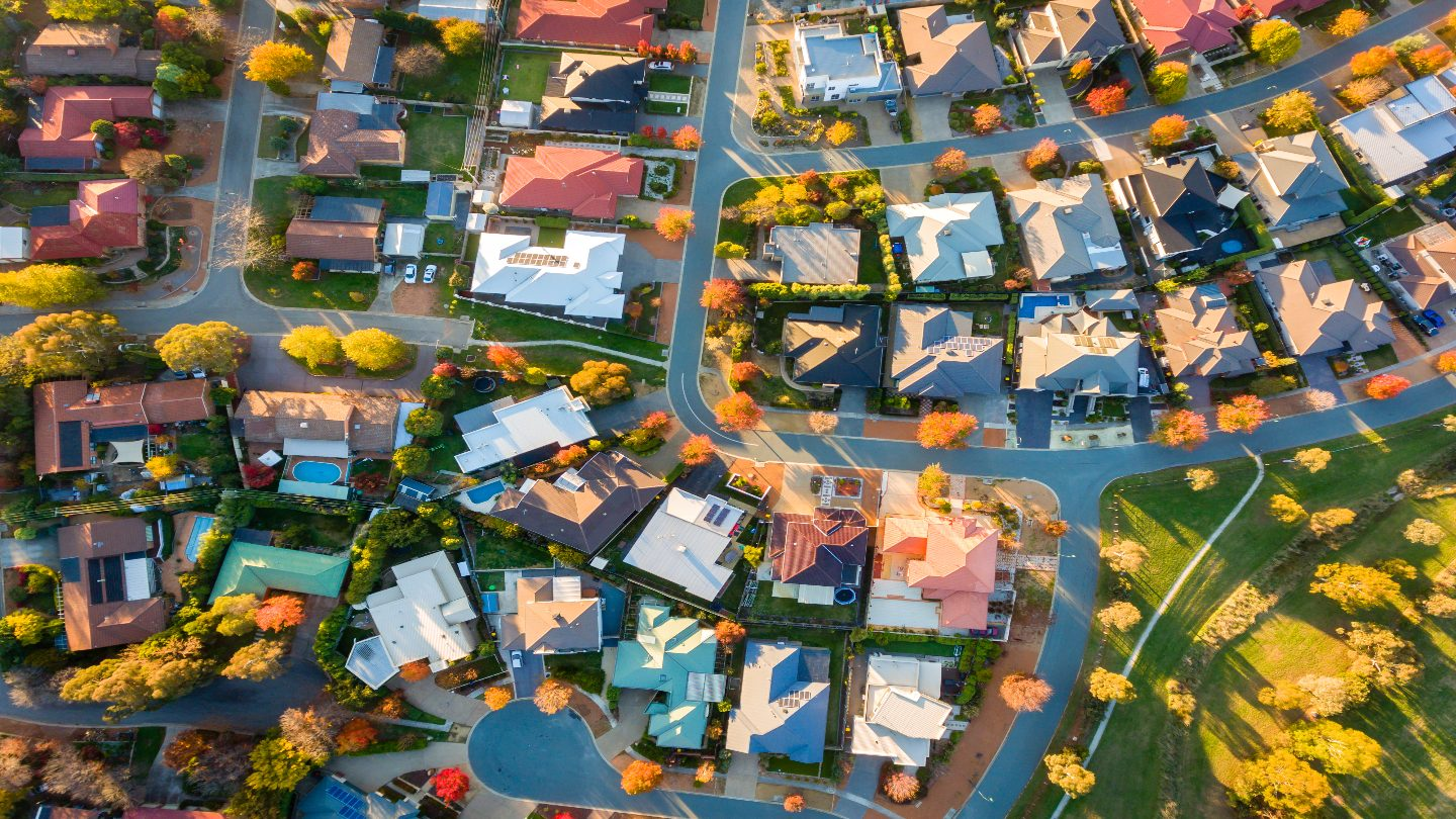 houses aerial view in an australian suburb