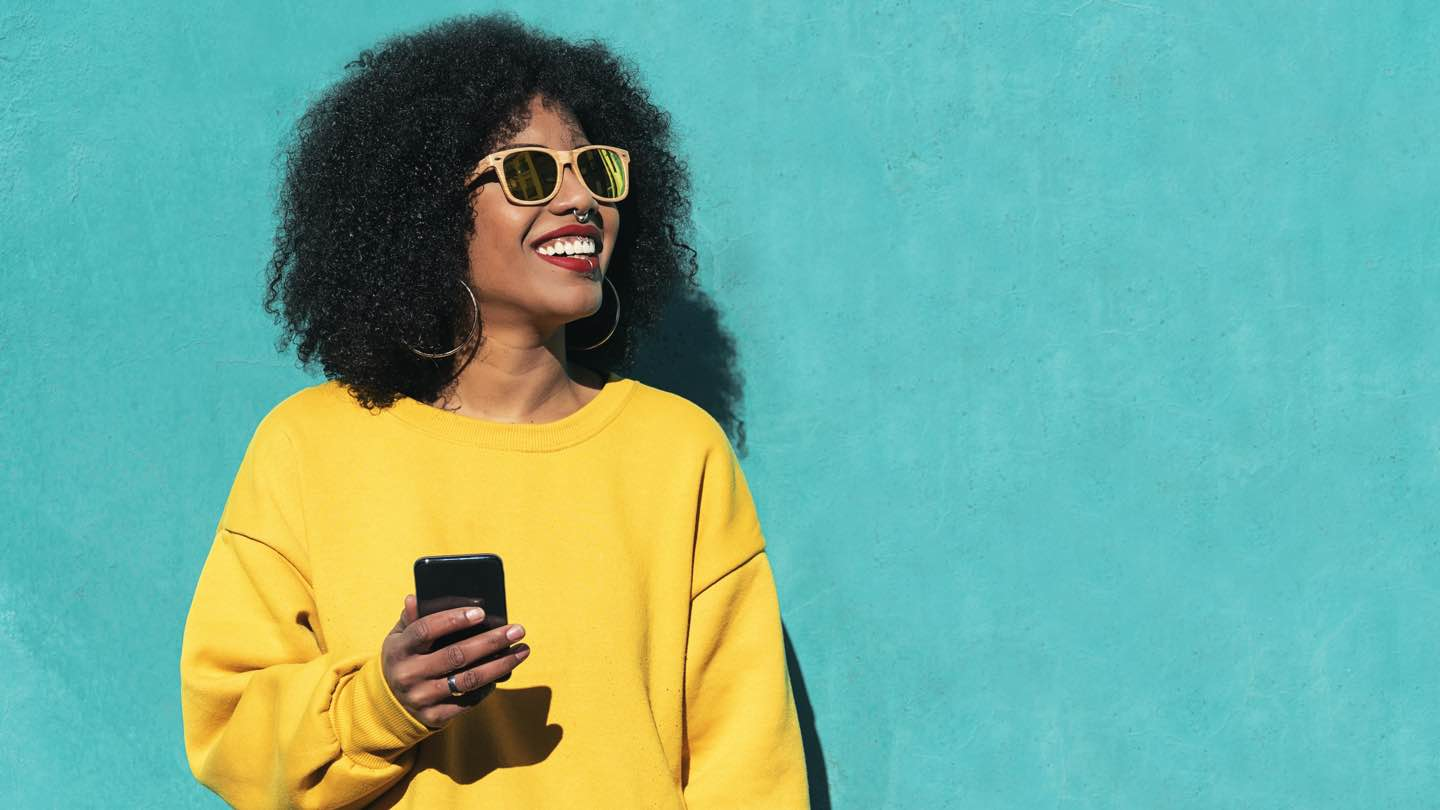 woman online banking on phone