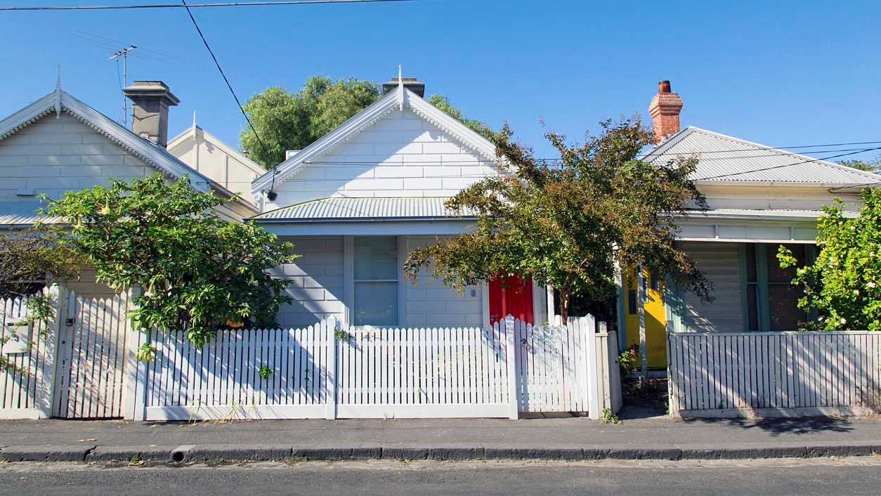 Terrace houses on a sunny day, ready for real estate inspections and auctions.