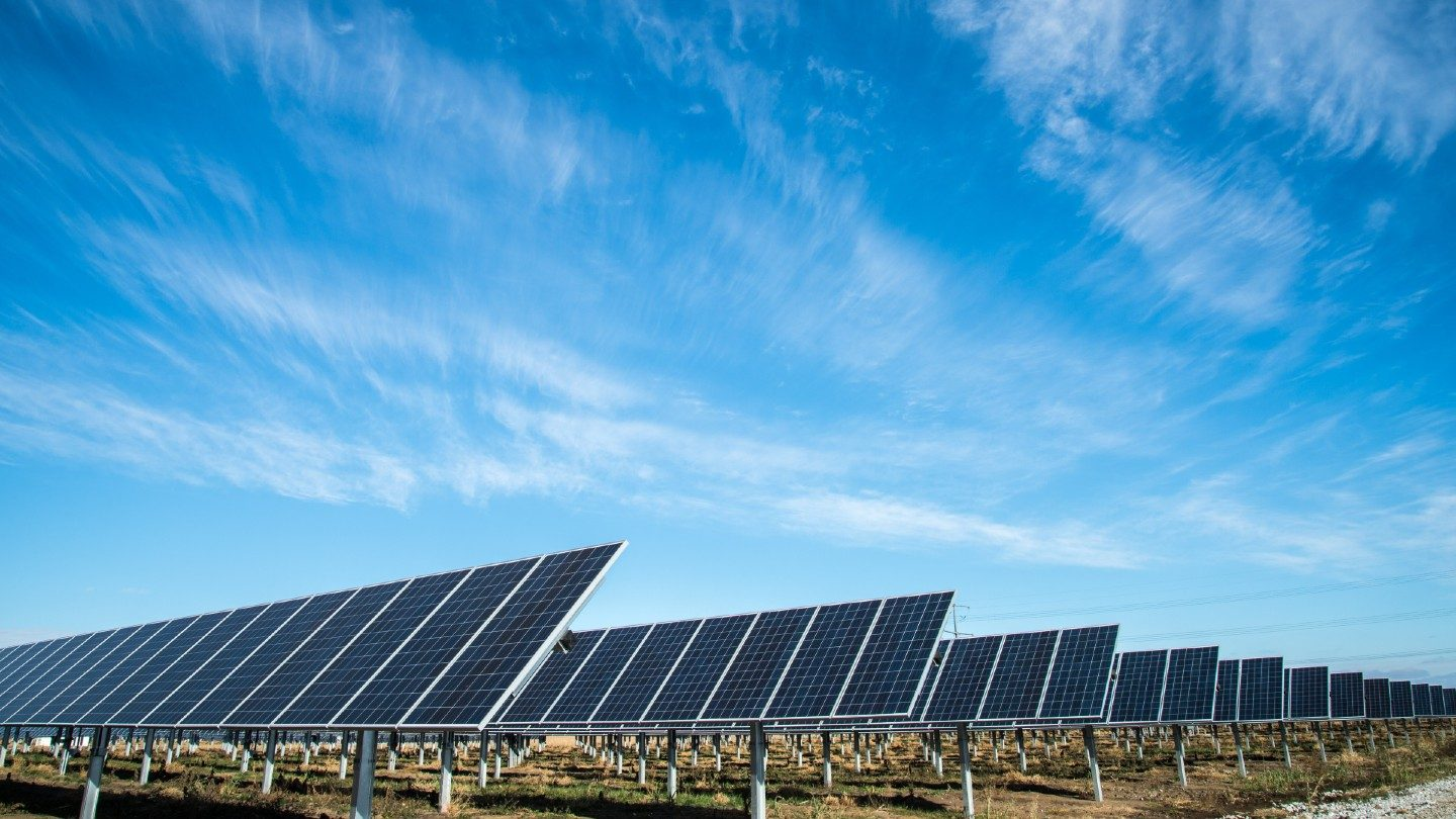 Solar panels in field with blue sky above