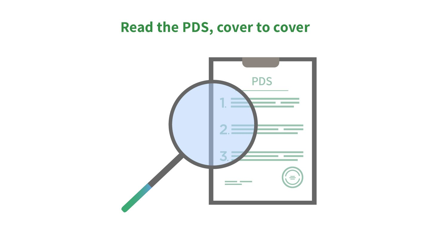 Graphic showing magnifying glass, hovering over PDS