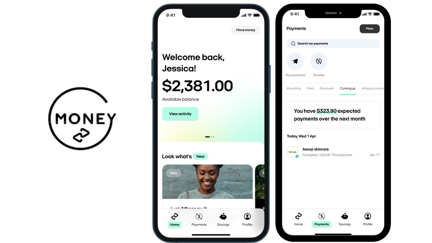 money logo and two phones showing afterpay money app interface with buy now pay later and savings account information