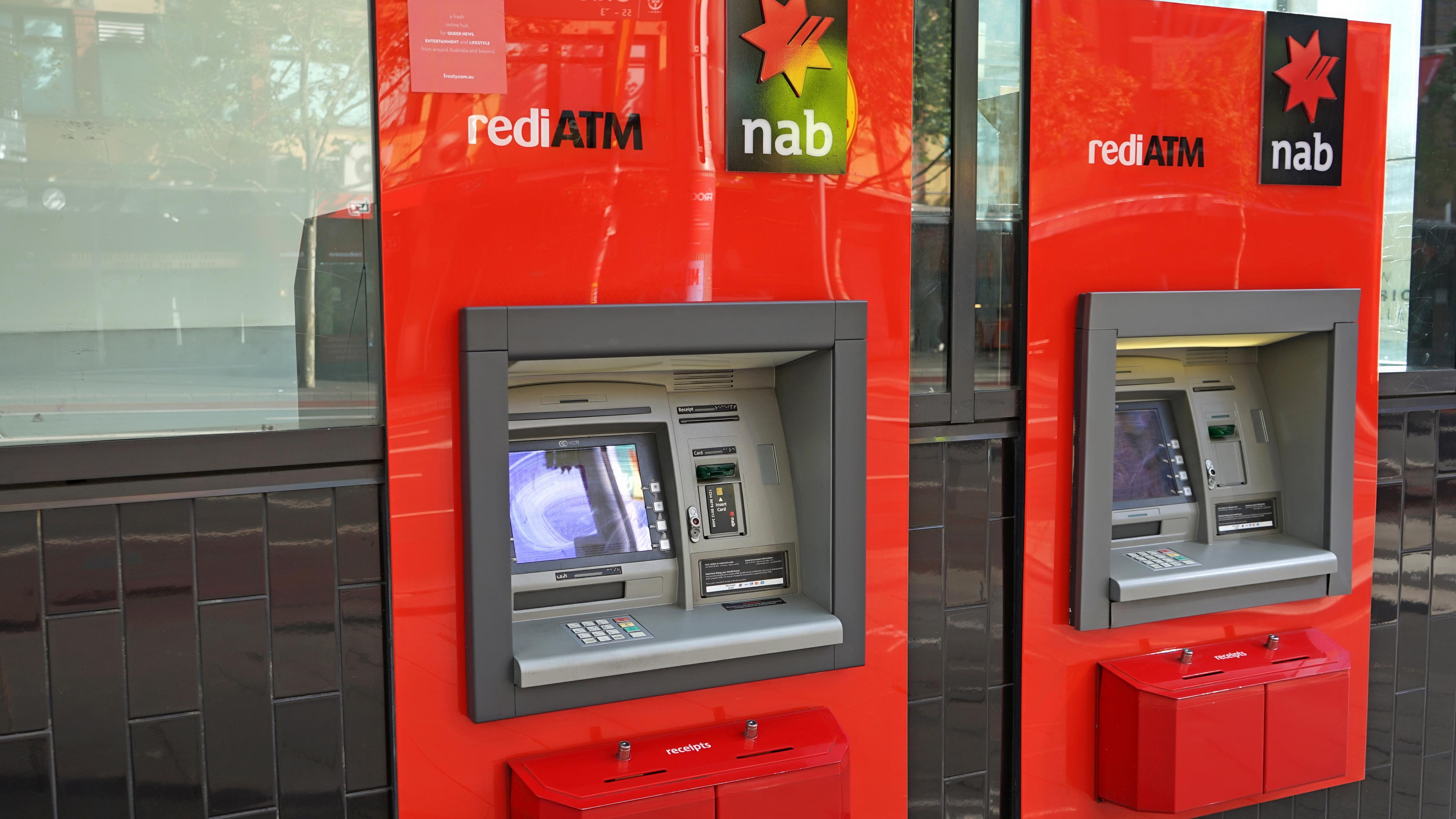 Unused NAB ATM during COVID as bank support measures are announced during 2021 lockdown..