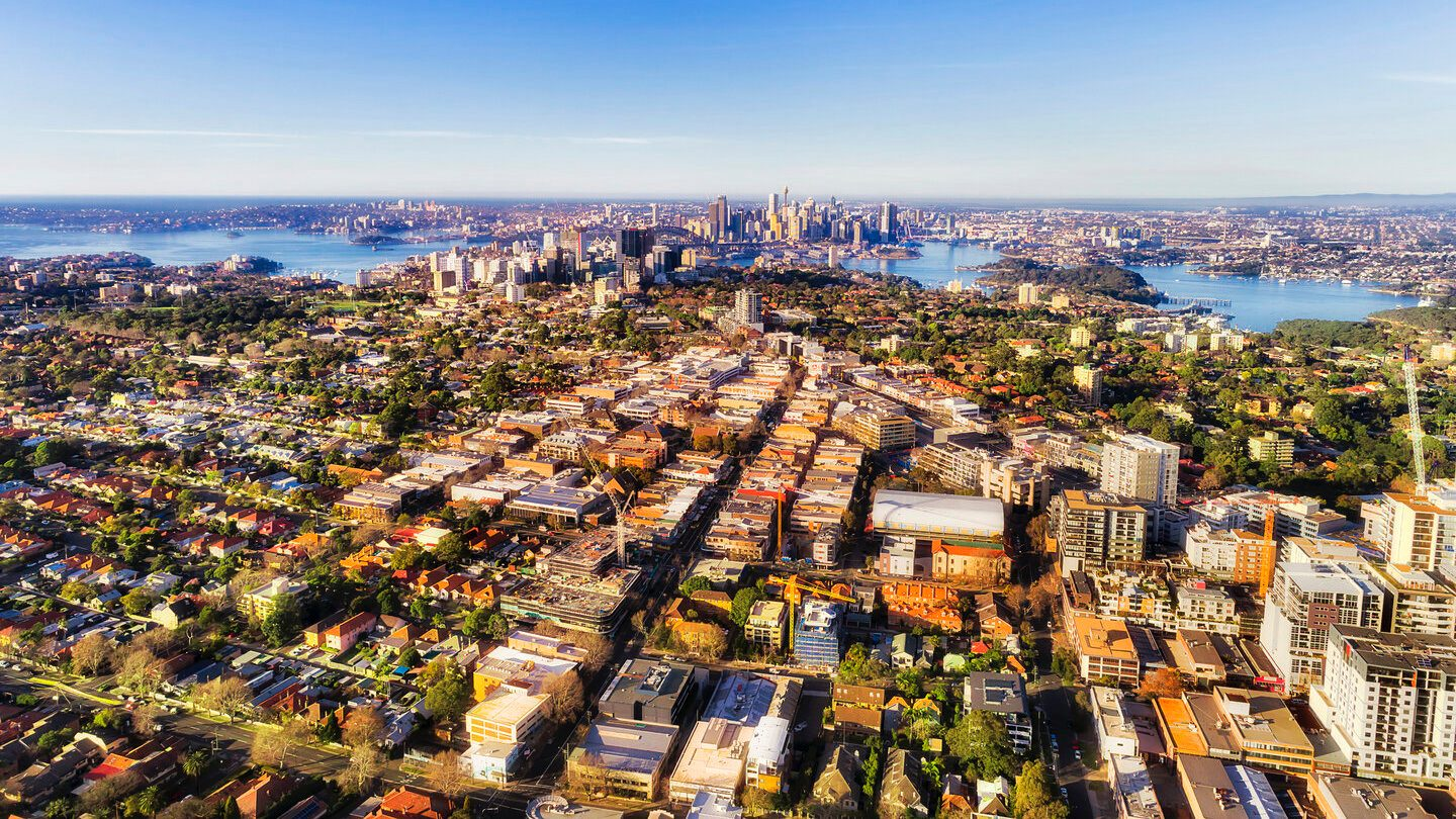 Northern Sydney aerial view of houses available to rent