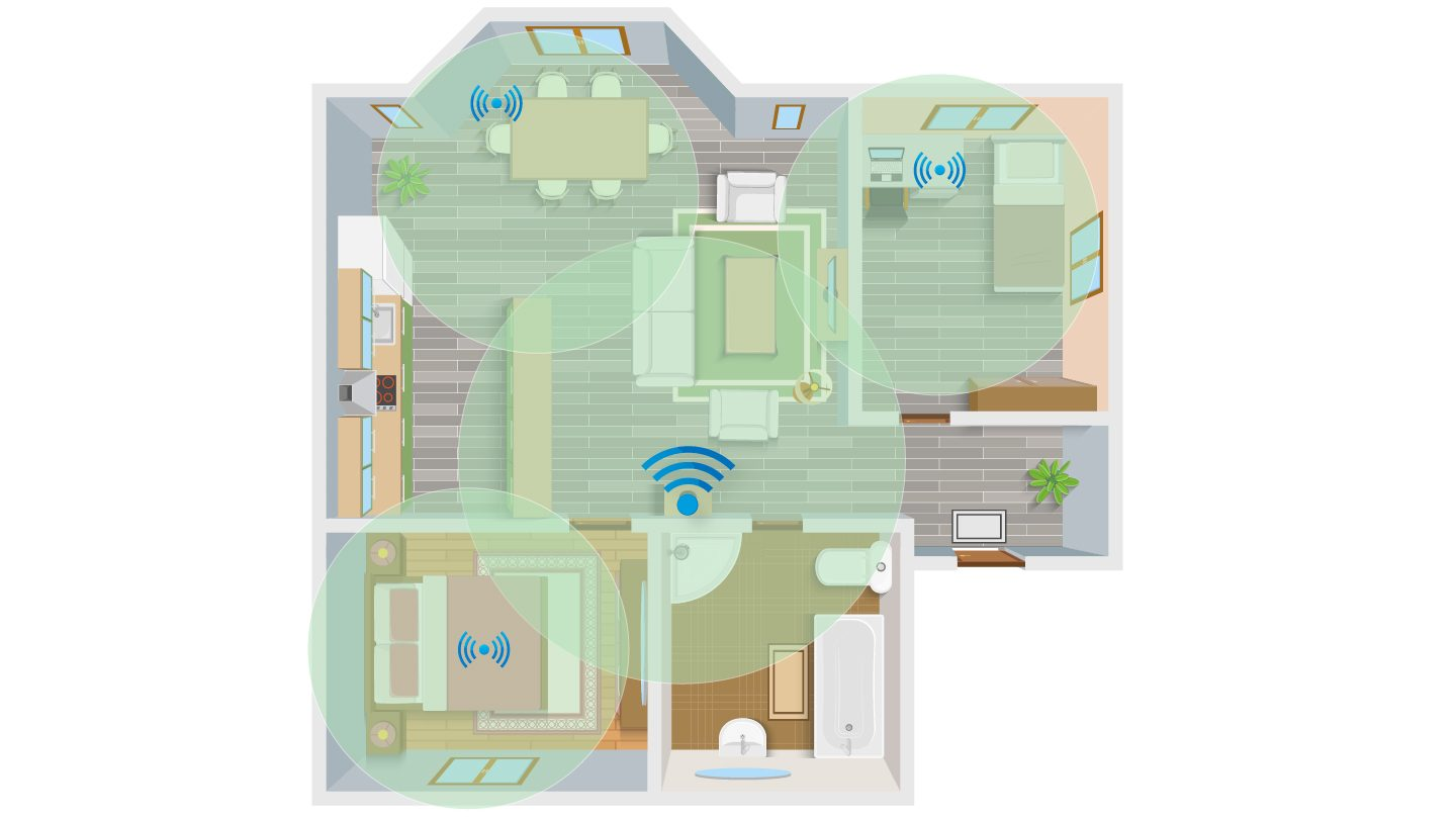 Wi-Fi range in a home with extenders