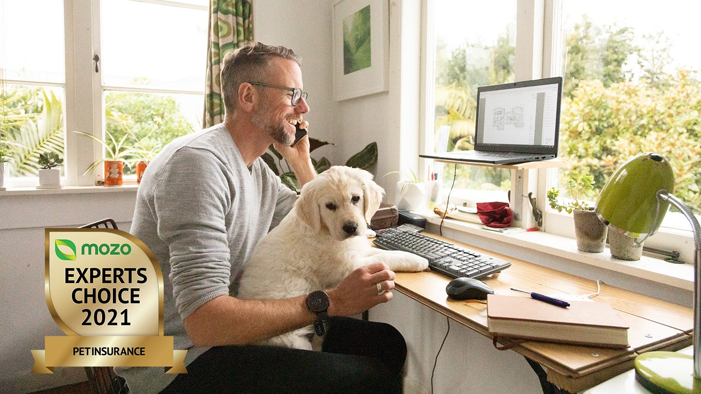 Man sits at desk, speaking on a phone and smiling with a cute, fluffy dog on his lap.