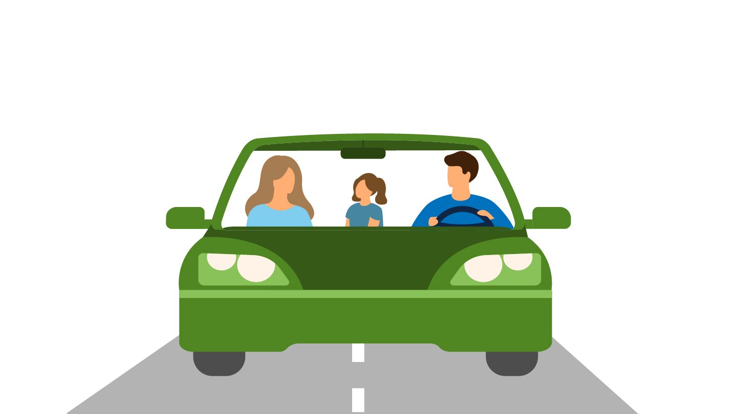 Graphic of family in car on a road trip.