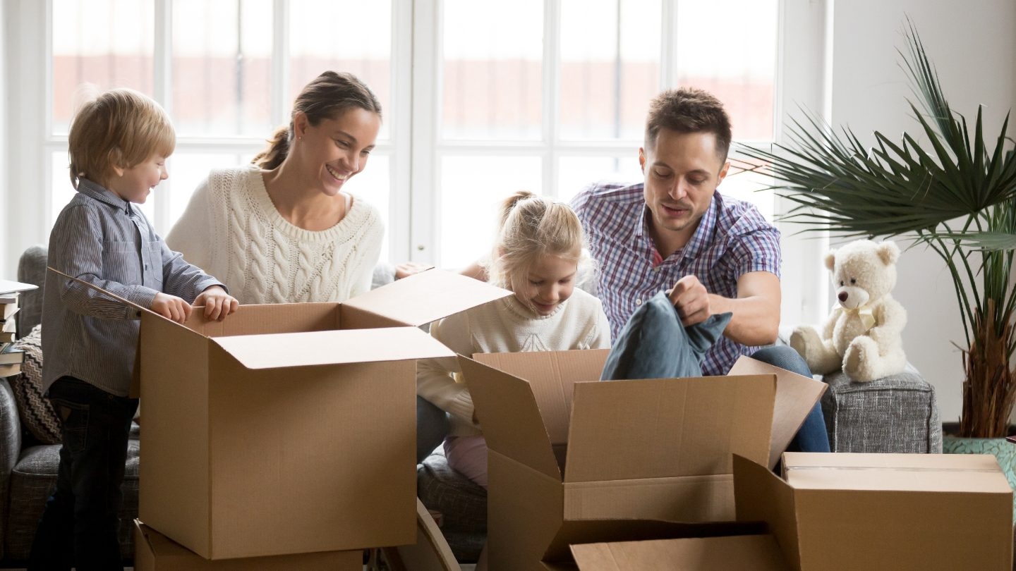Family moving into new home.