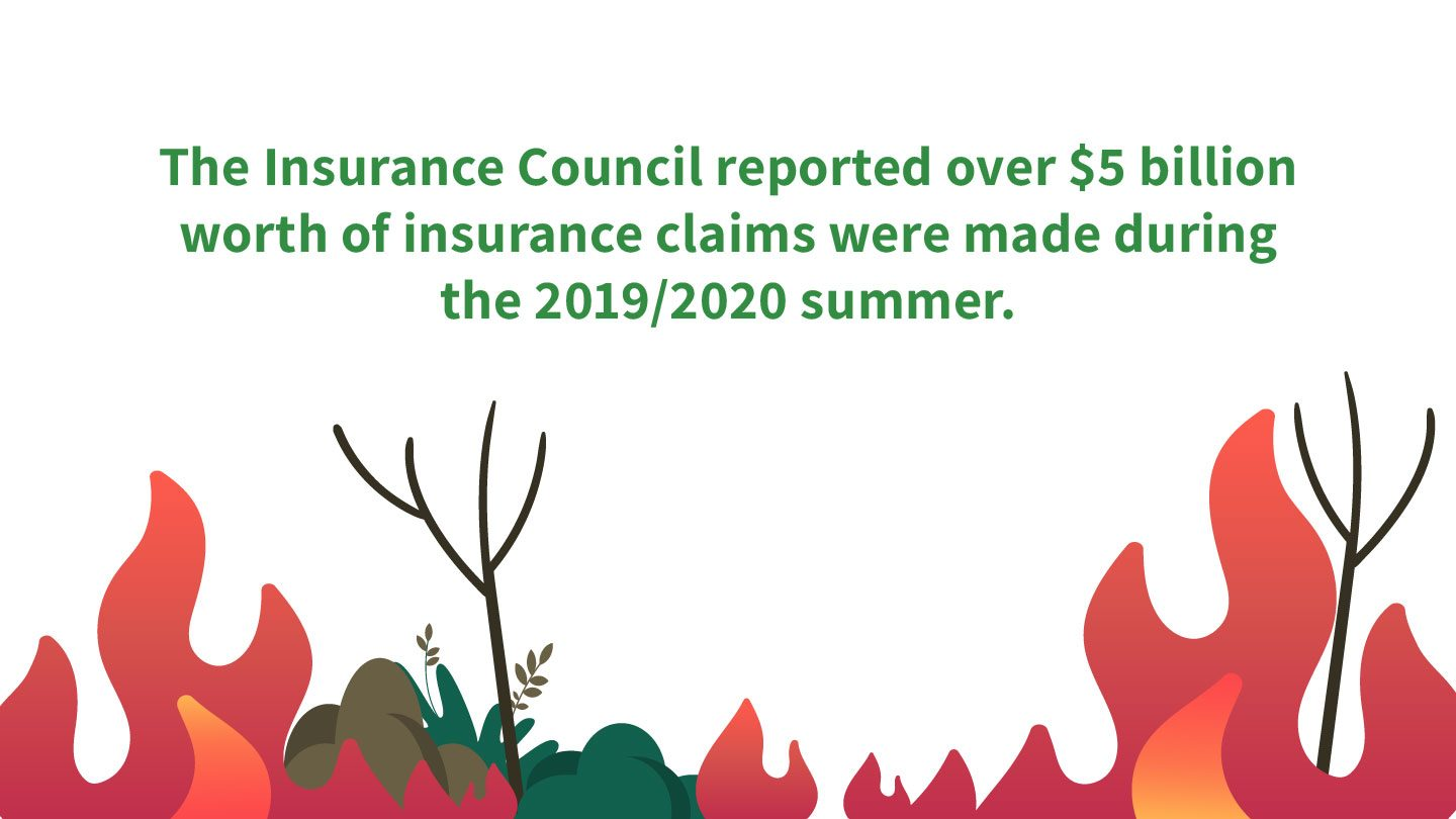 Graphic showing bushfire, reads 'The Insurance Council reported over $5 billion worth of insurance claims were made during the 2019/2020 summer.