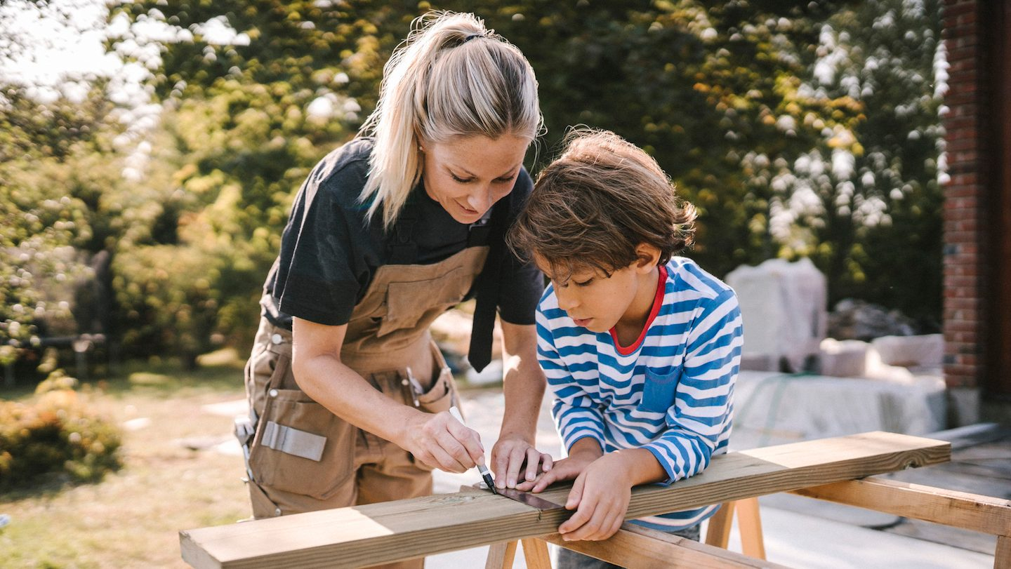 mother and son renovating using personal loan