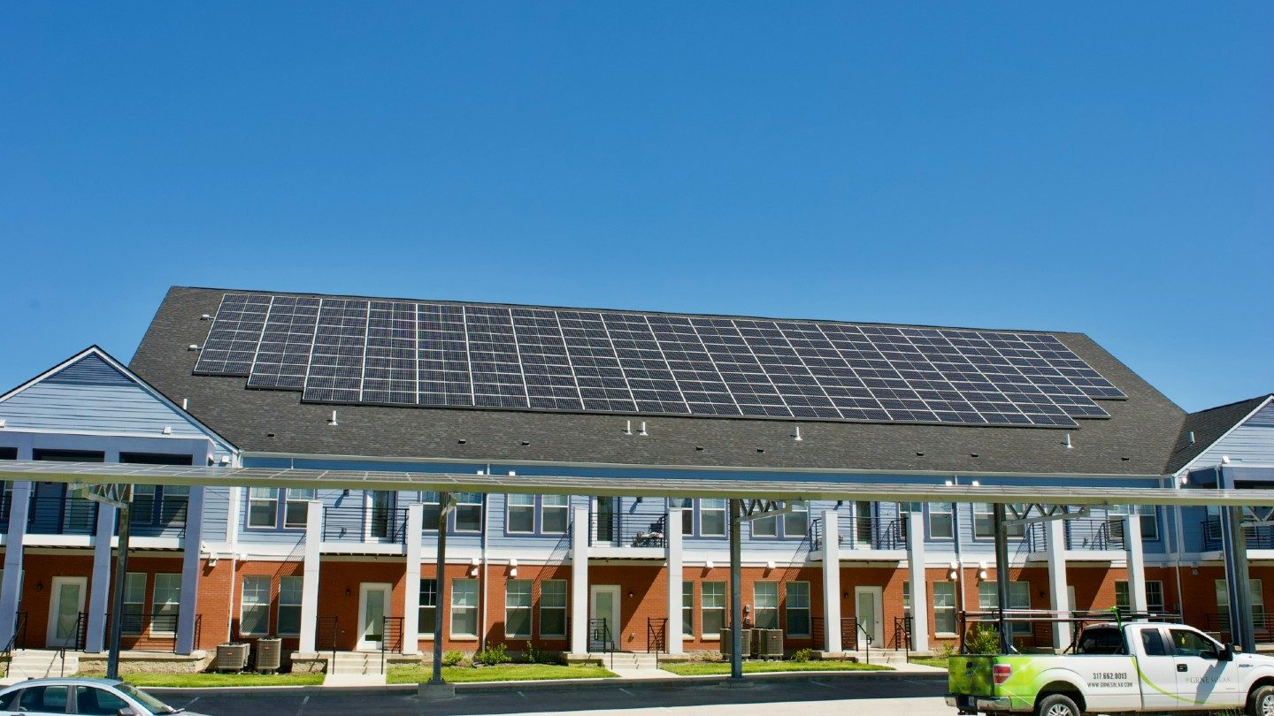Solar panels on roof of large home
