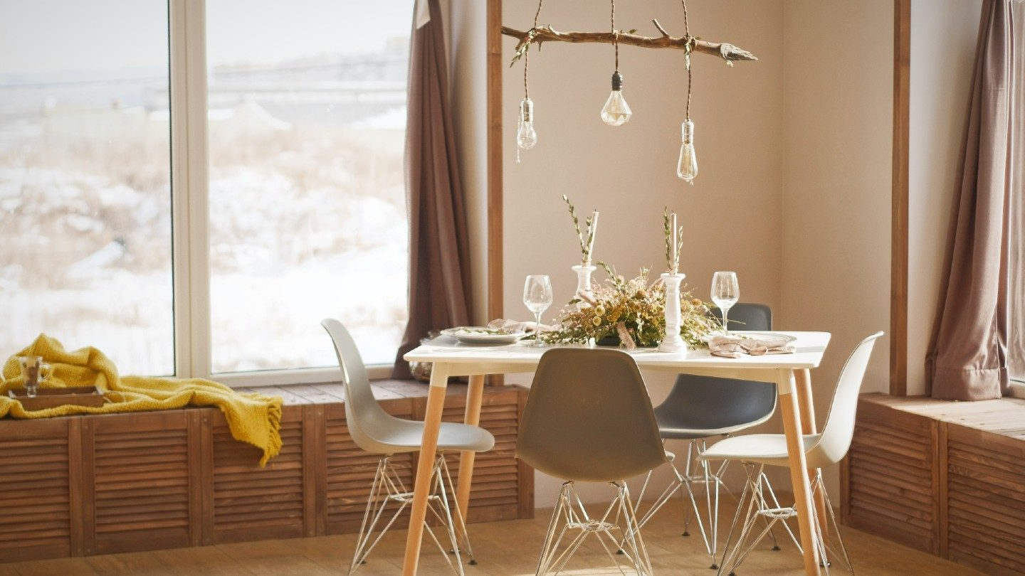 Dining setting in a sunny home