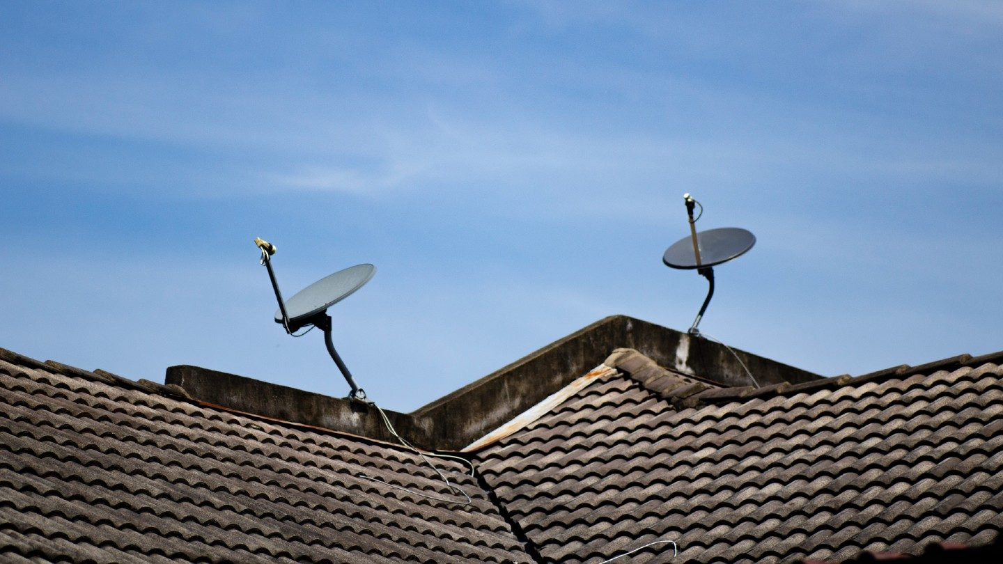 Satellite dishes on rooftop