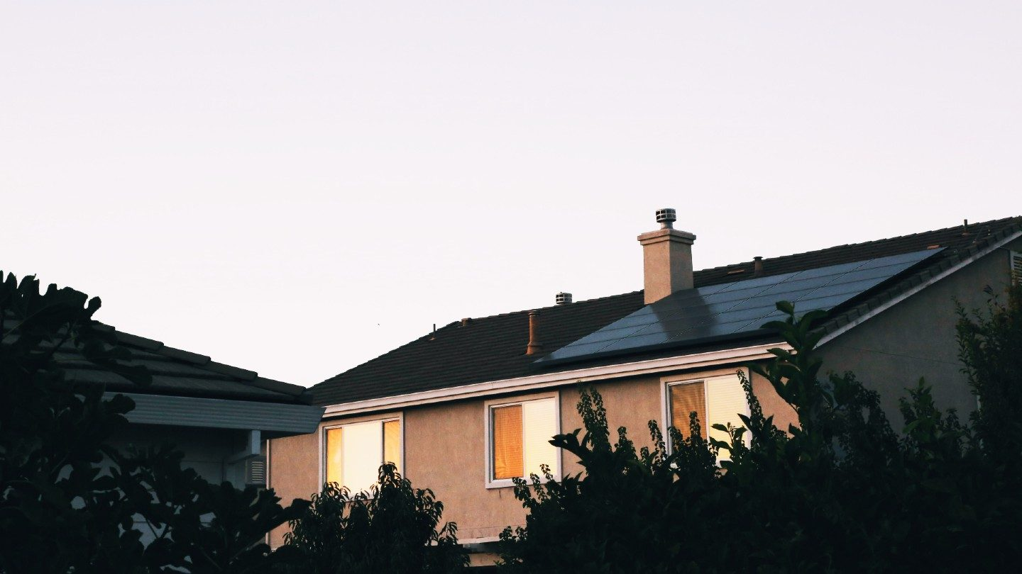 Rooftop solar panels on house