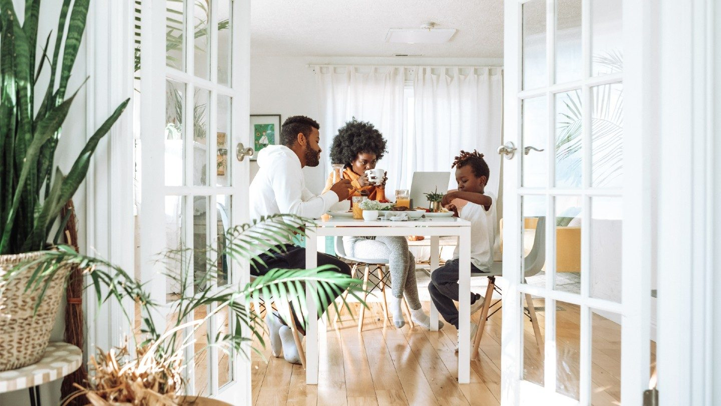 Family eating at table