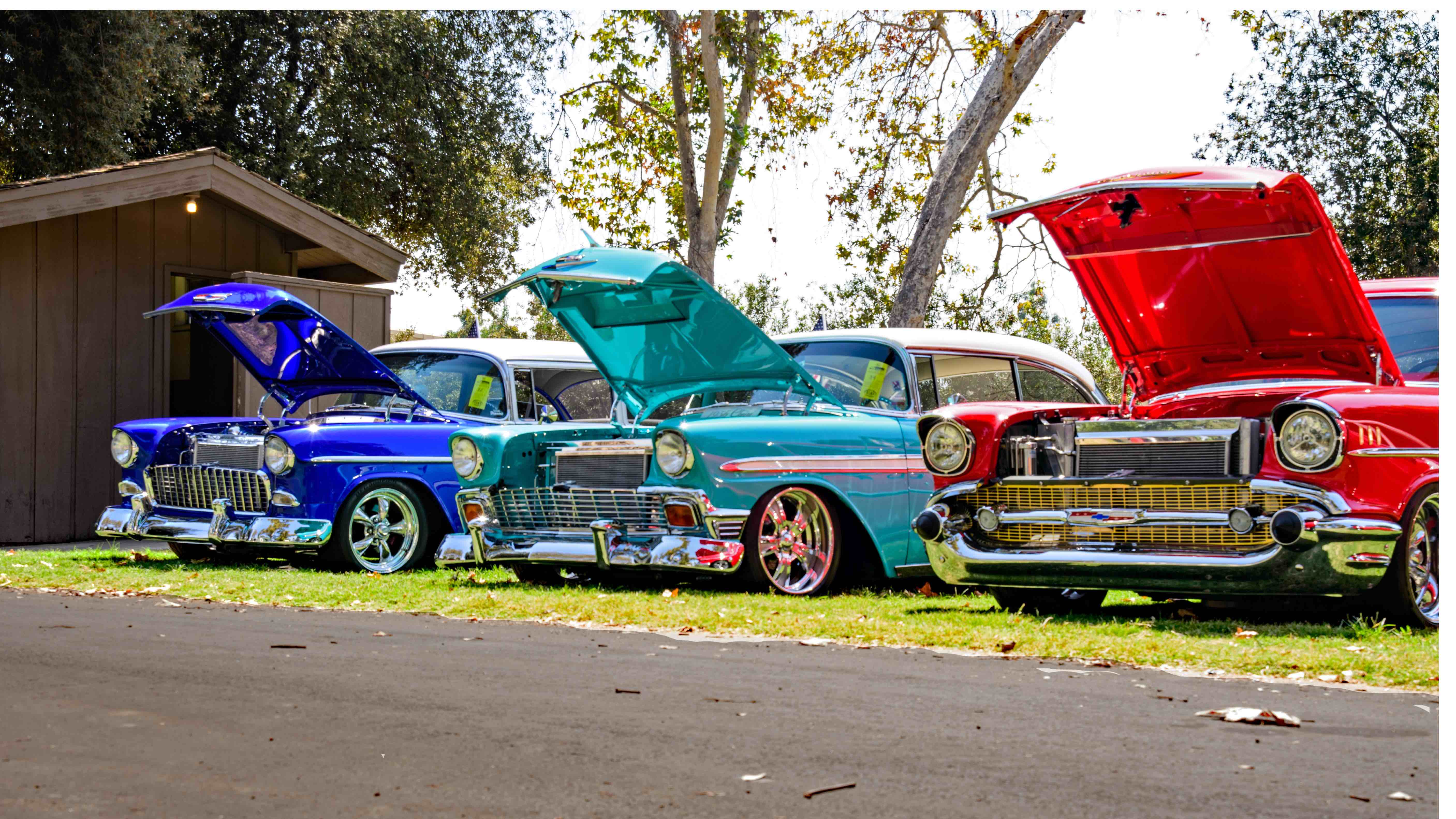 Colourful classic cars with the hoods open.