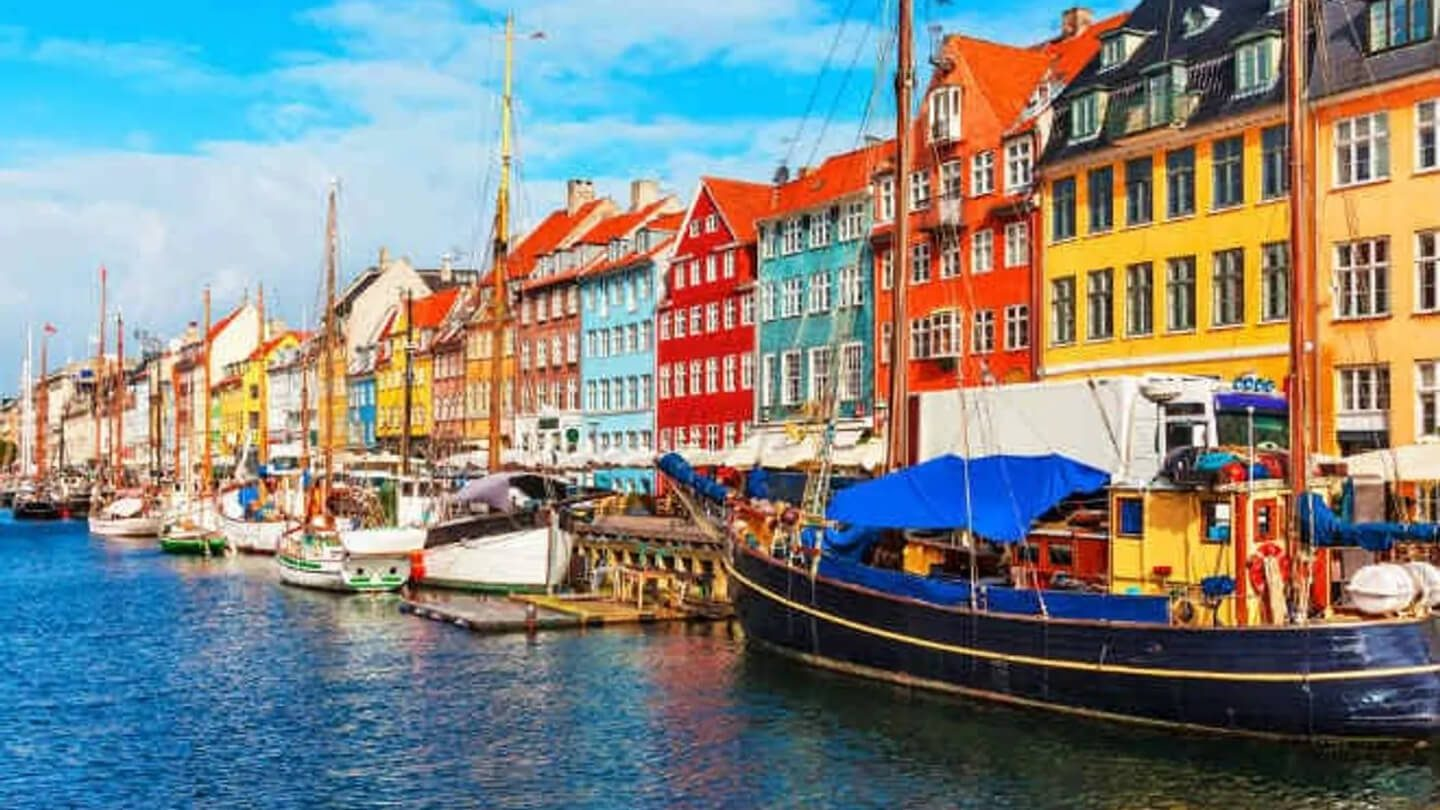 waterfront with colourful houses in Denmark