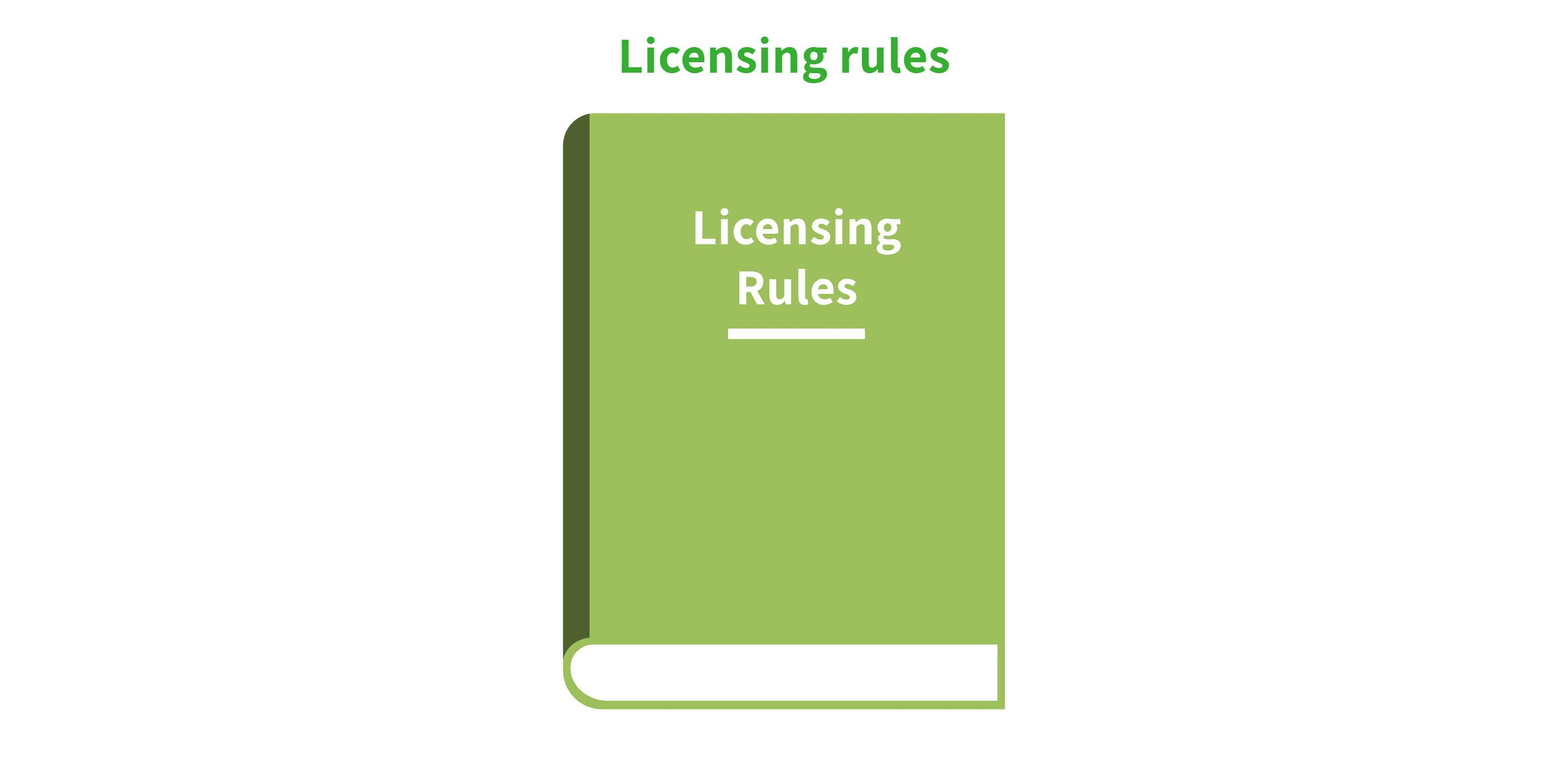 Graphic illustration of licensing rules book.
