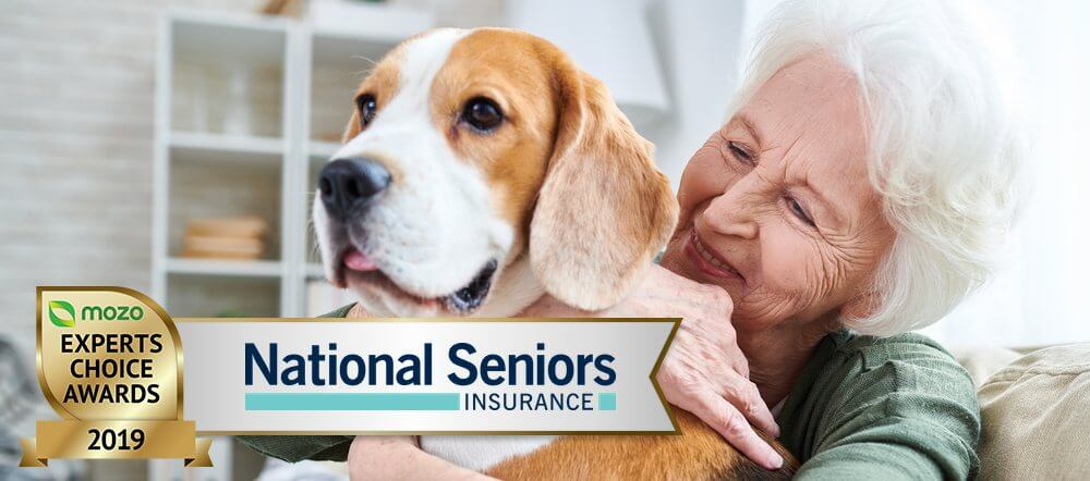 Elderly lady holds pet dog. Graphic in the corner for Mozo Experts Choice 2019 Pet Insurance Awards.